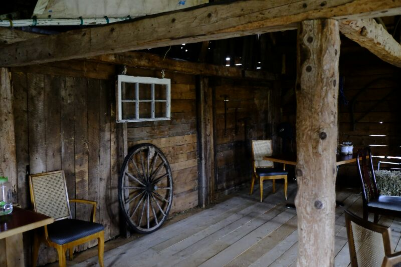 Wagon wheel in the barn